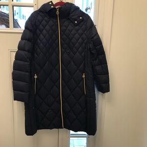 Michale Kors navy hooded packable down coat